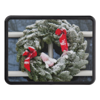 Snowy christmas wreath hitch cover