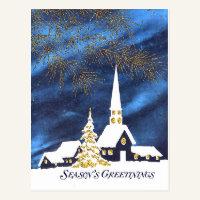 Snowy Church Business Christmas Postcard