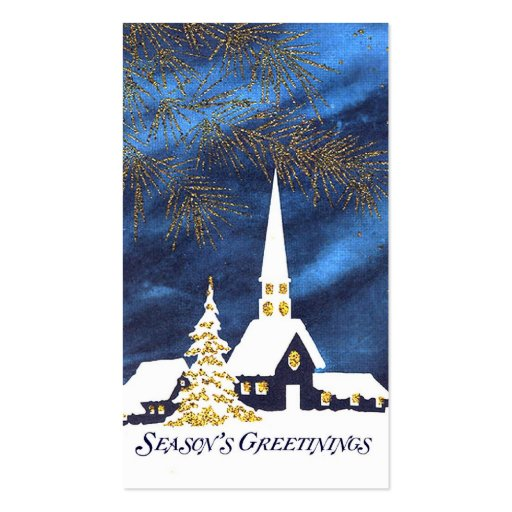 Snowy Church Christmas Gift Tags Business Card Templates