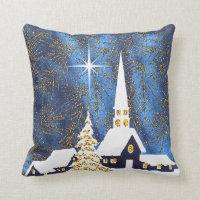 Snowy Church Christmas Pillow