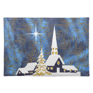 Snowy Church Christmas Placemat Cloth Place Mat