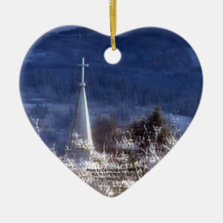 snowy church steeple ceramic ornament