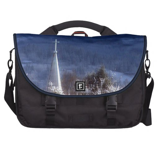 snowy church steeple laptop computer bag