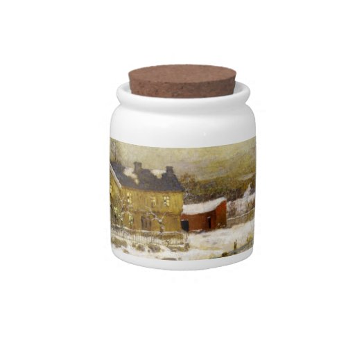 Snowy Cottage by a Canal Candy Jar