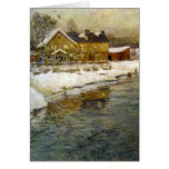 Snowy Cottage by a Canal Greeting Card