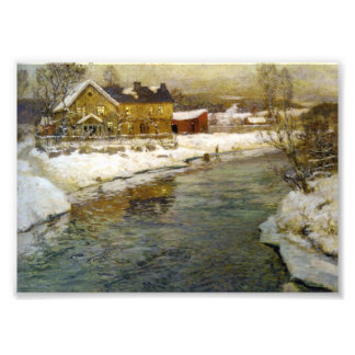 Snowy Cottage by a Canal Photo