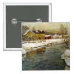 Snowy Cottage by a Canal Pin