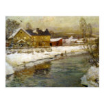 Snowy Cottage by a Canal Postcard