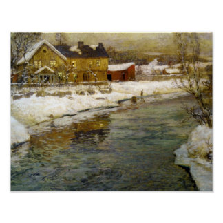 Snowy Cottage by a Canal Poster