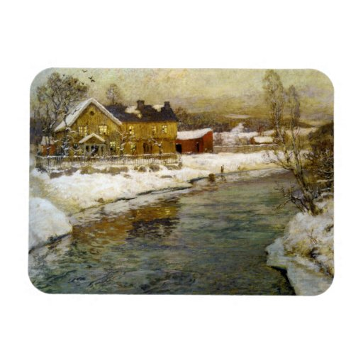 Snowy Cottage by a Canal Rectangle Magnet