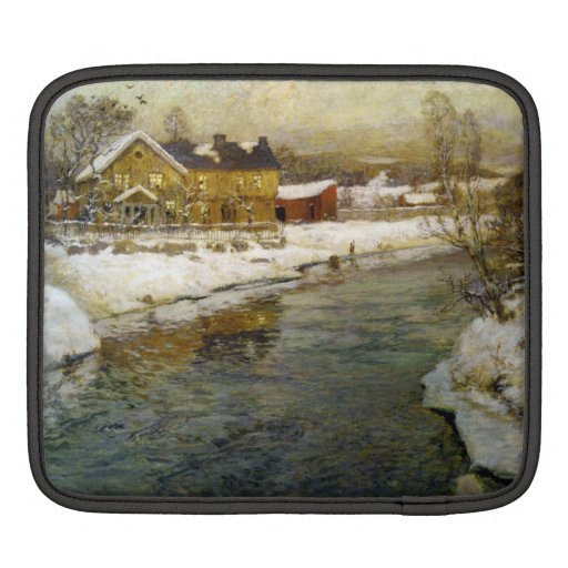 Snowy Cottage by a Canal Sleeve For iPads