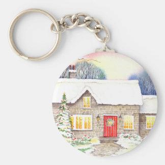 Snowy Cottage Keychain