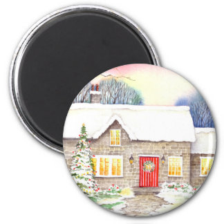 Snowy Cottage Magnet