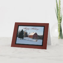 Snowy Country Barn Happy Holidays Card