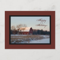 Snowy Country Barn Happy Holidays Holiday Postcard