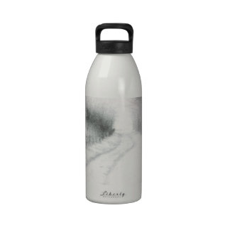 snowy country road drinking bottle