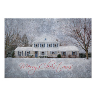 Snowy Country Rural Christmas Holiday Greeting Poster