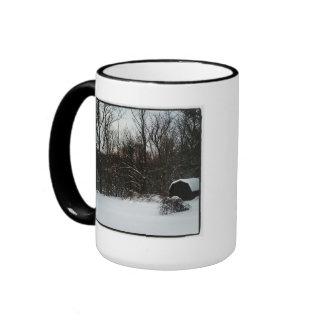 Snowy countryside ringer coffee mug