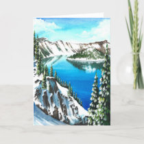 Snowy Crater Lake Holiday Card