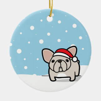 Snowy Cream Frenchie Double-Sided Ceramic Round Christmas Ornament