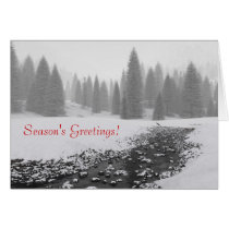 blue christmas, holiday, christmas tree, snow, forest, pines, Card with custom graphic design