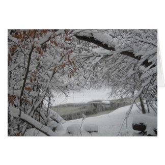 Snowy Creek through the Trees Greeting Card