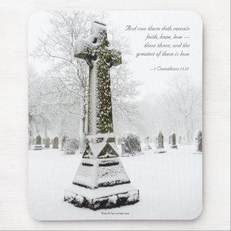 Snowy Cross: 1 Corinthians 13:13 - Inspirational Mouse Pad