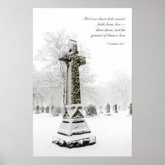 Snowy Cross: 1 Corinthians 13:13 - Inspirational Poster