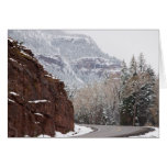 snowy curved road greeting cards