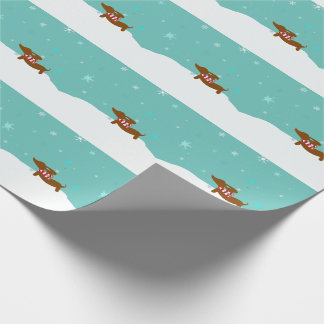 Snowy Dachshund Scarf Gift Wrap Wrapping paper