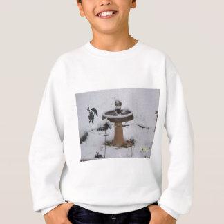 snowy day birdbath sweatshirt