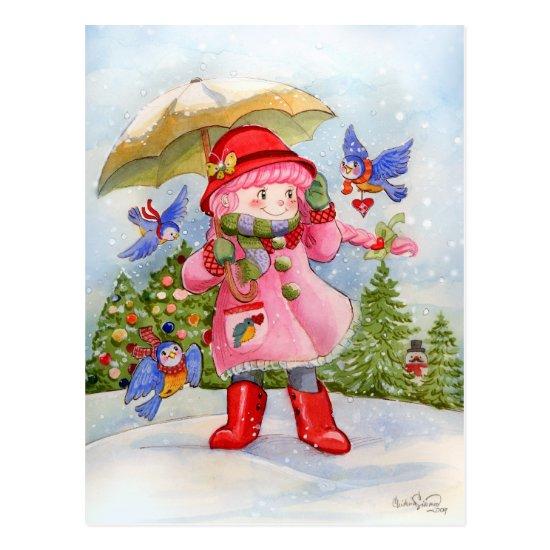 Snowy day Bluebird Afternoon Postcard
