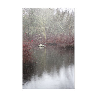 Snowy Day On Acushnet River Wrapped Canvas Print