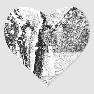 Snowy Day with Trees Heart Sticker