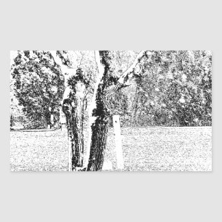 Snowy Day with Trees Rectangular Sticker