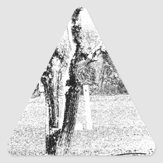 Snowy Day with Trees Triangle Sticker