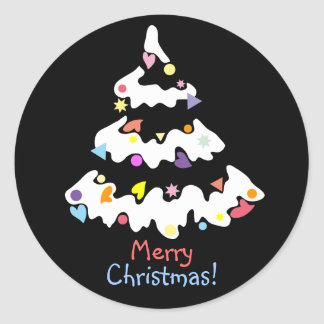 snowy decorated Christmas tree Classic Round Sticker
