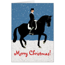 Snowy Dressage Horse Christmas Card