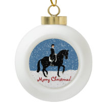 Snowy Dressage Horse Christmas Ceramic Ball Christmas Ornament