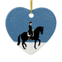 Snowy Dressage Horse Christmas Ceramic Ornament