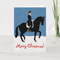 Snowy Dressage Horse Christmas Holiday Card