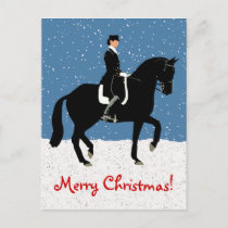 Snowy Dressage Horse Christmas Holiday Postcard
