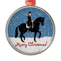 Snowy Dressage Horse Christmas Metal Ornament