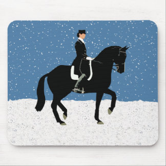 Snowy Dressage Horse Christmas Mouse Pad