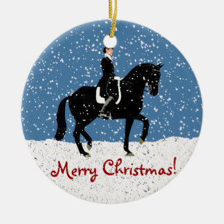 Snowy Dressage Horse Christmas Double-Sided Ceramic Round Christmas Ornament