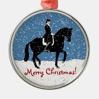 Snowy Dressage Horse Christmas Round Metal Christmas Ornament