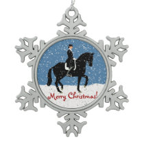 Snowy Dressage Horse Christmas Snowflake Pewter Christmas Ornament