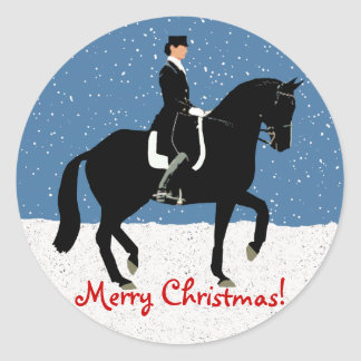 Snowy Dressage Horse Christmas Classic Round Sticker