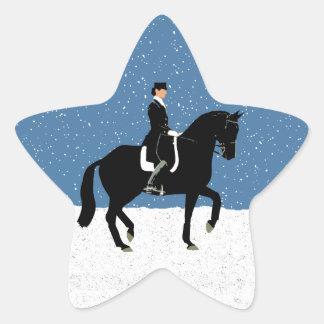 Snowy Dressage Horse Christmas Star Sticker