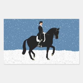 Snowy Dressage Horse Christmas Rectangular Sticker